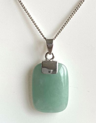 Cushion Shaped Silver Green Jade Necklace